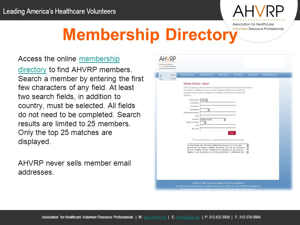 Membership Directory Access the online membership