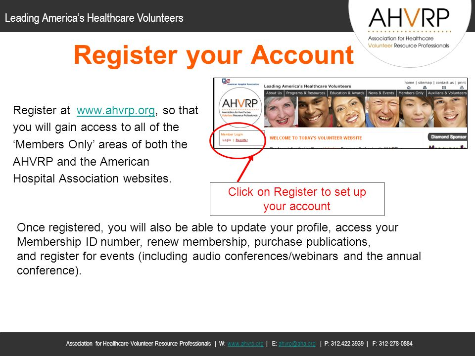 Click on Register to set up your account
