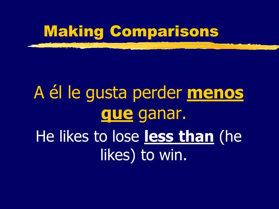 A él le gusta perder menos que ganar.