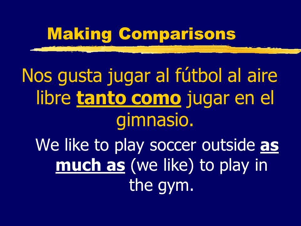 Making ComparisonsNos gusta jugar al fútbol al aire libre tanto como jugar en el gimnasio.