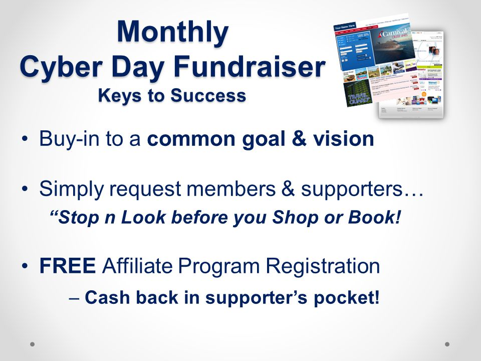 Monthly Cyber Day Fundraiser Keys to Success