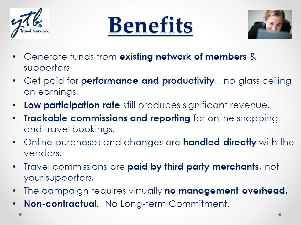 Benefits Generate funds from existing network of members & supporters.