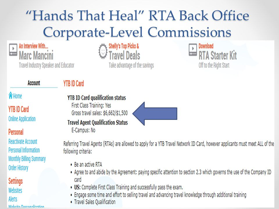Hands That Heal RTA Back Office Corporate-Level Commissions