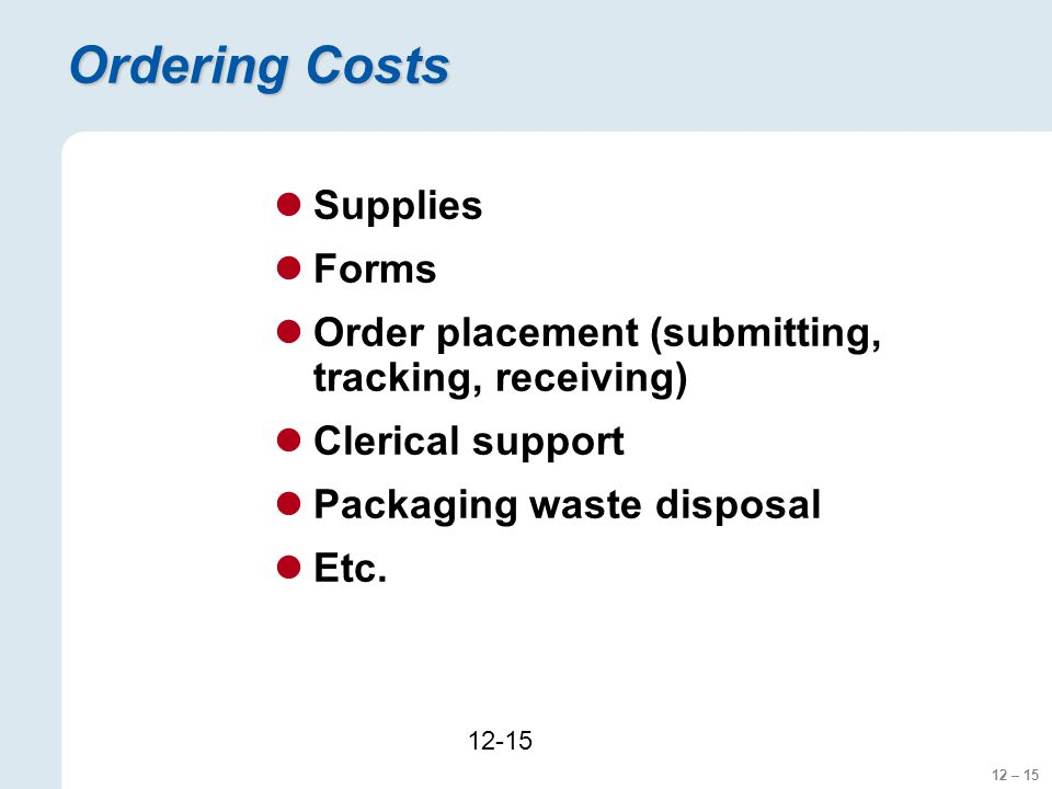 Ordering Costs Supplies Forms