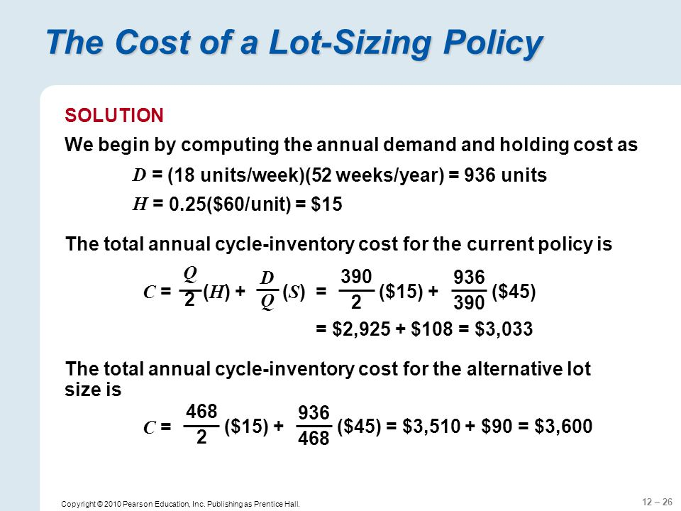 The Cost of a Lot-Sizing Policy