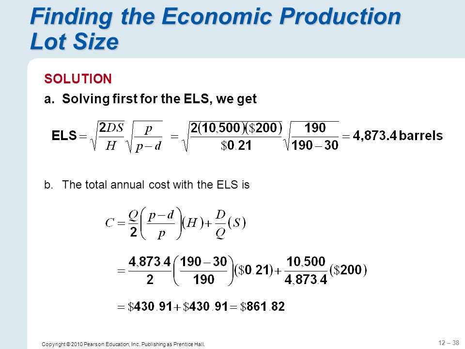 Finding the Economic Production Lot Size
