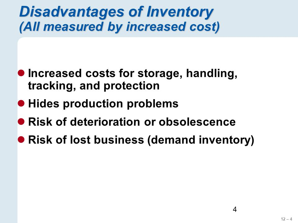 Disadvantages of Inventory (All measured by increased cost)