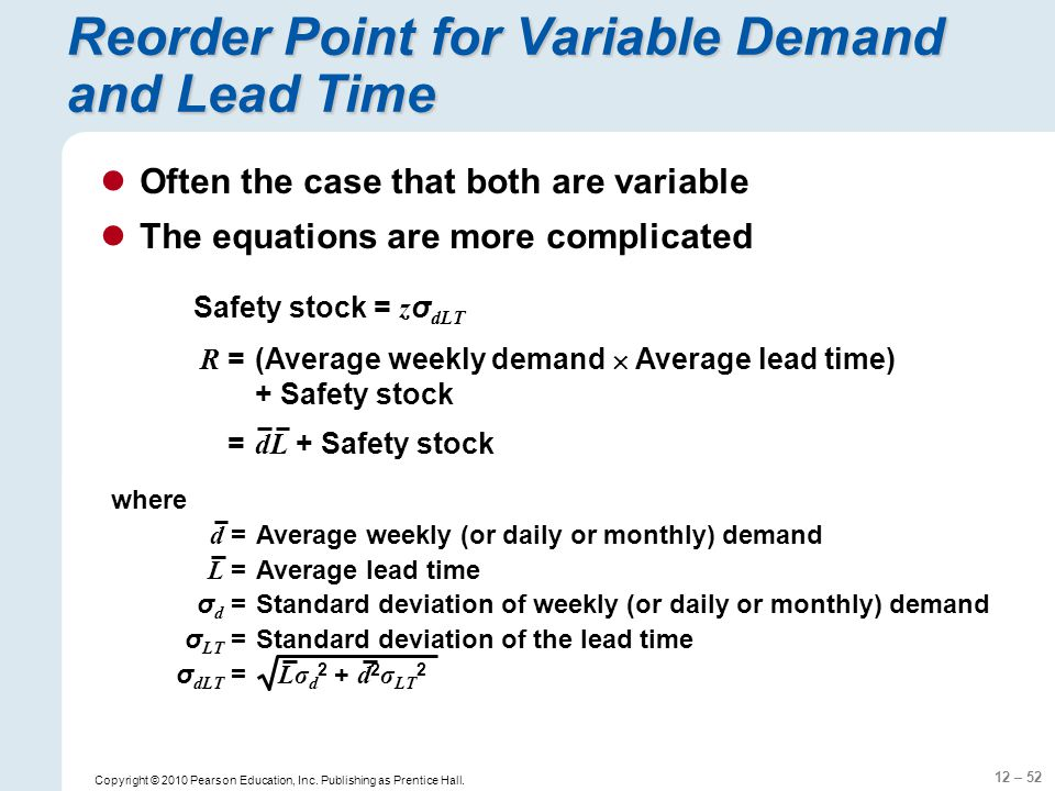Reorder Point for Variable Demand and Lead Time