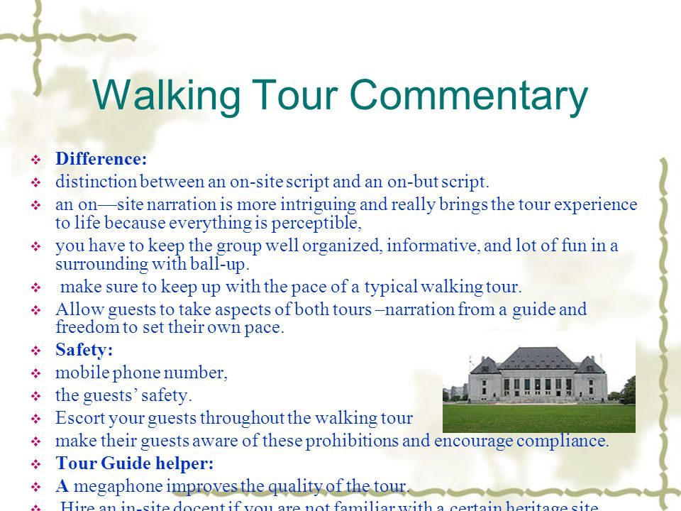 Walking Tour Commentary