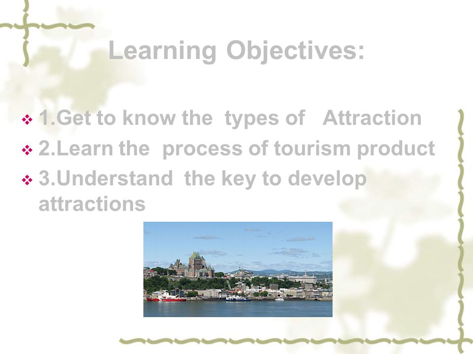 Learning Objectives: 1.Get to know the types of Attraction
