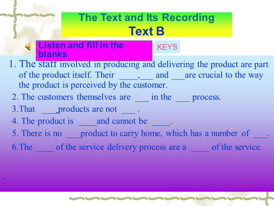 The Text and Its Recording Text B
