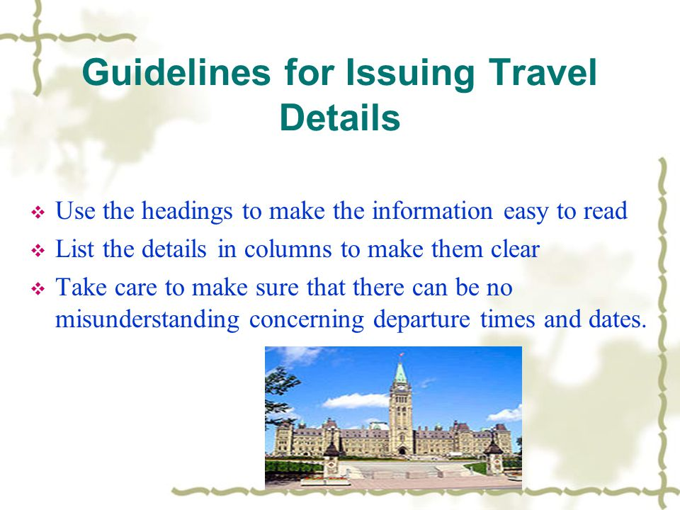 Guidelines for Issuing Travel Details