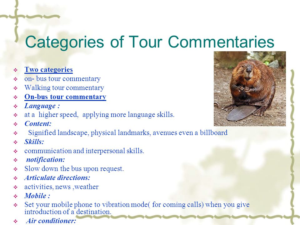 Categories of Tour Commentaries