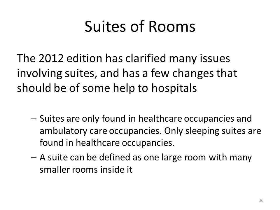 Suites of Rooms The 2012 edition has clarified many issues involving suites, and has a few changes that should be of some help to hospitals.