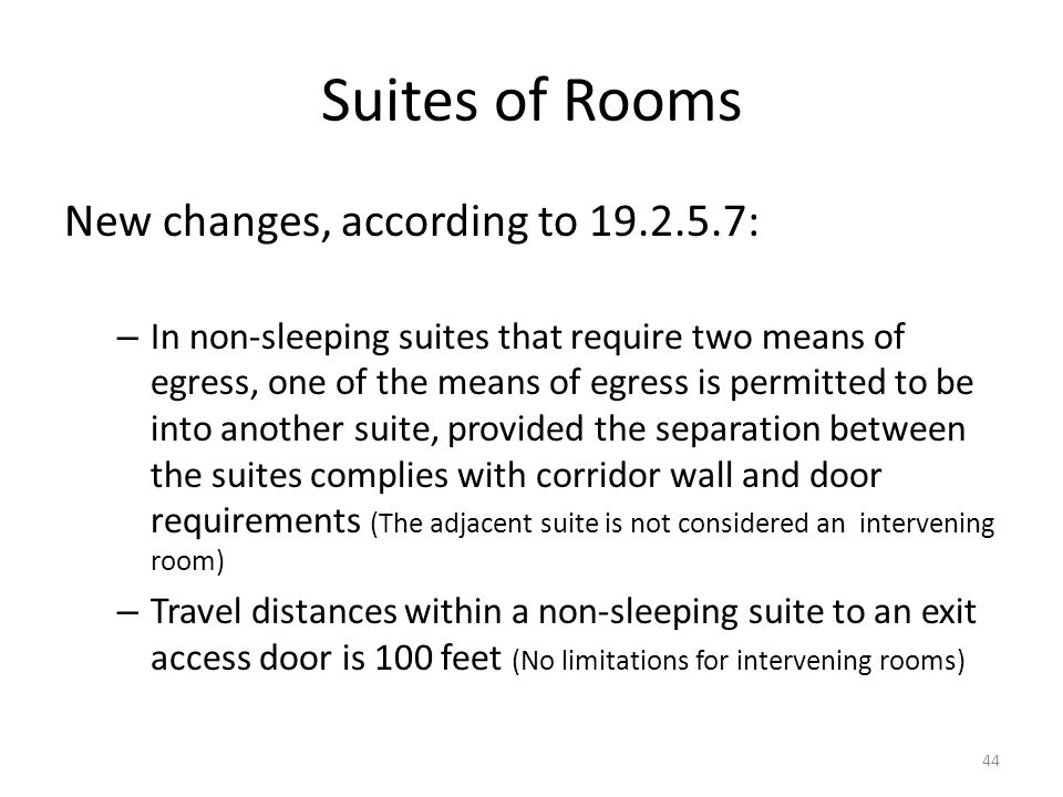 Suites of Rooms New changes, according to 19.2.5.7: