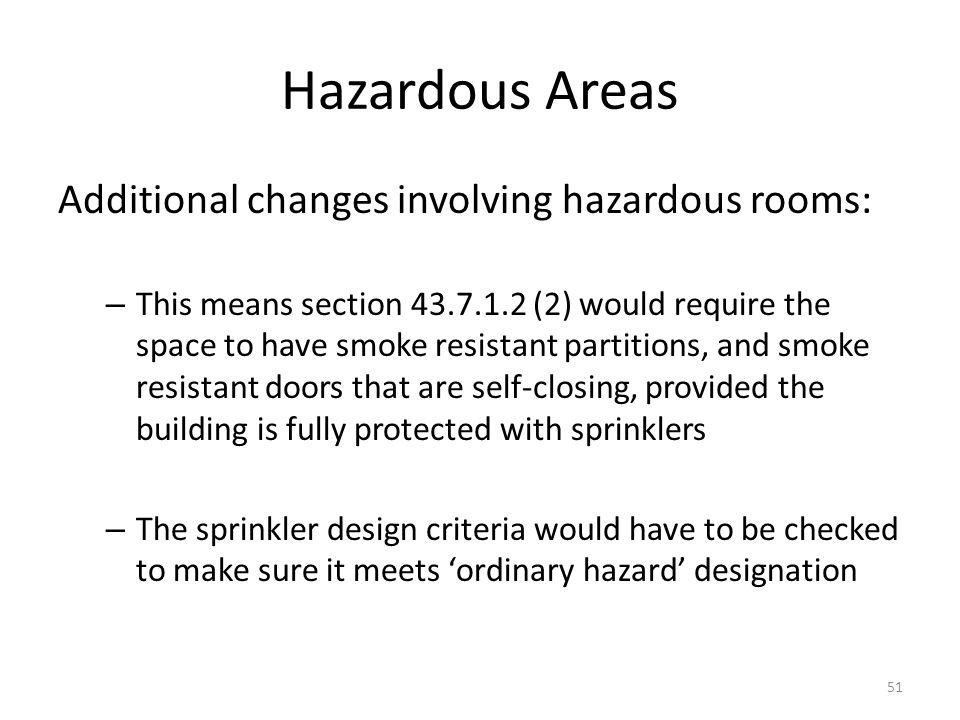Hazardous Areas Additional changes involving hazardous rooms: