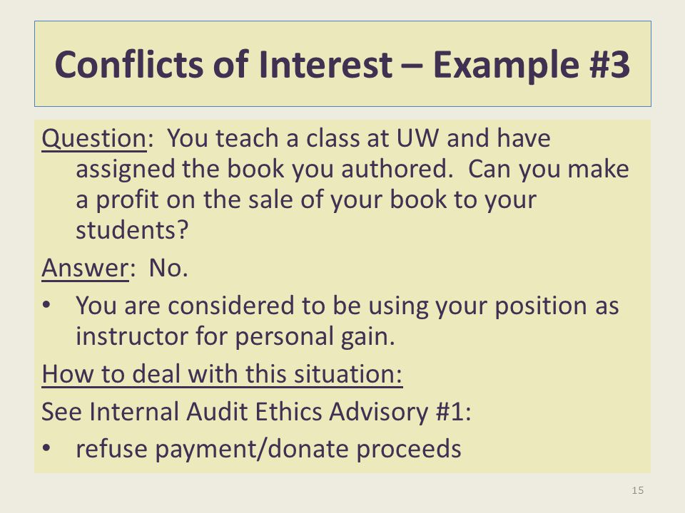 Conflicts of Interest – Example #3
