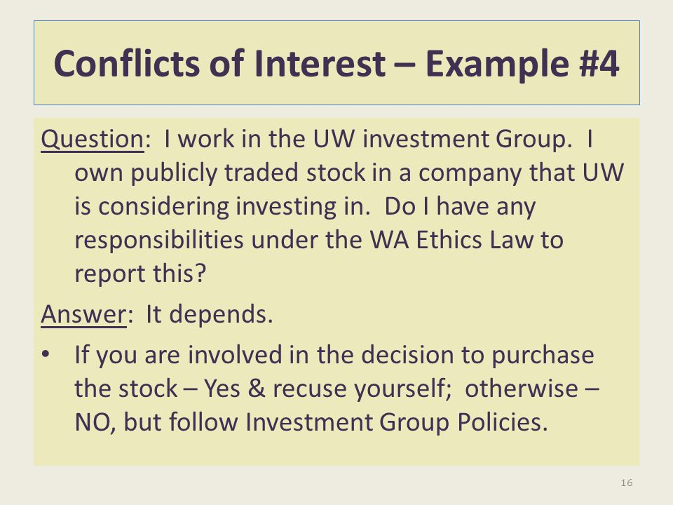 Conflicts of Interest – Example #4