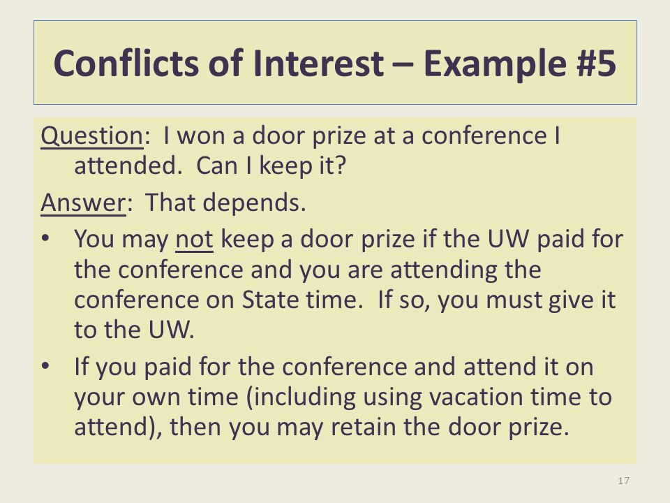 Conflicts of Interest – Example #5
