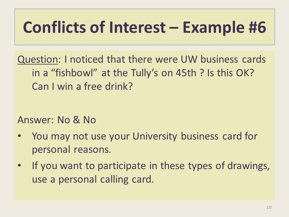 Conflicts of Interest – Example #6