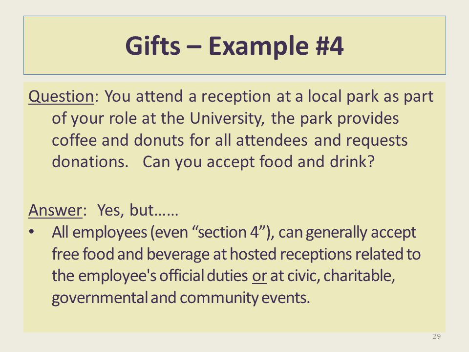 Gifts – Example #4