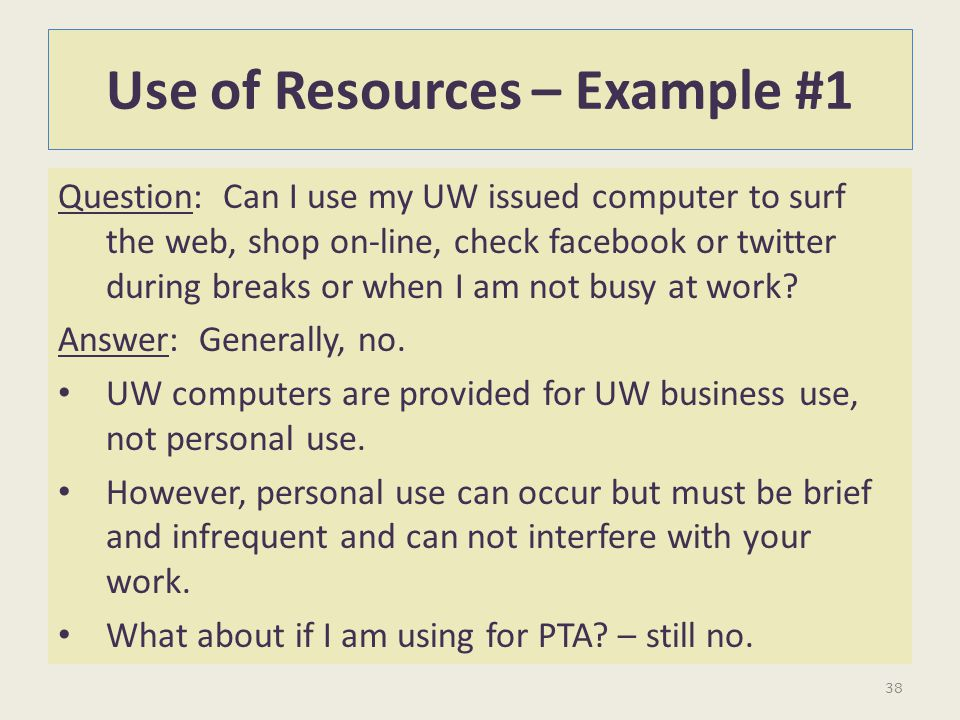 Use of Resources – Example #1