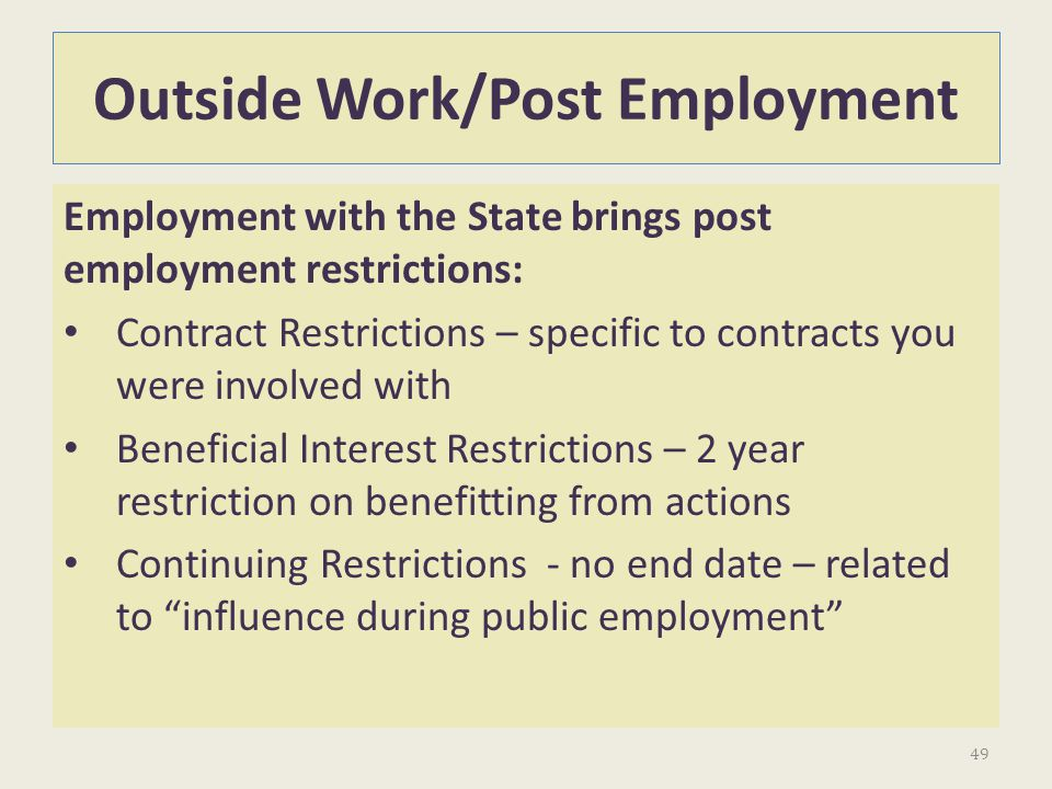 Outside Work/Post Employment