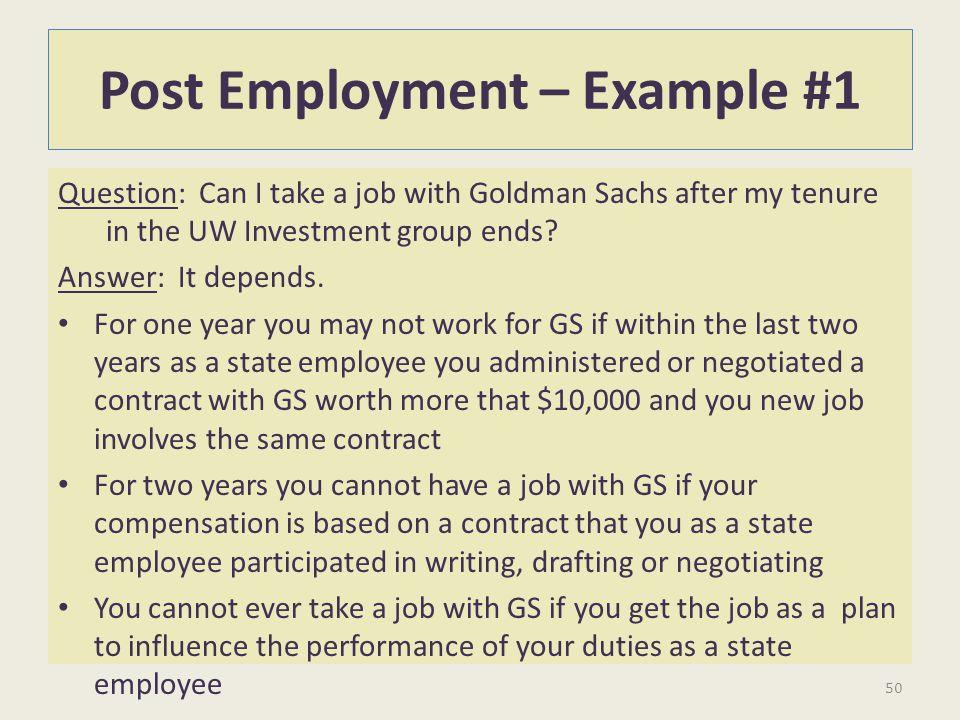 Post Employment – Example #1
