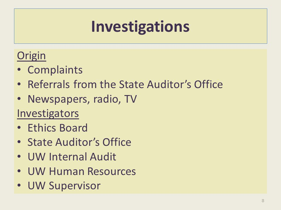 Investigations Origin Complaints