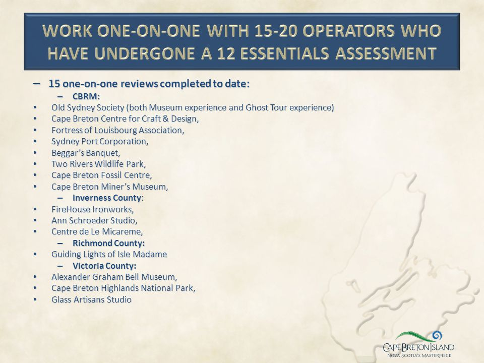Work one-on-one with 15-20 operators who have undergone a 12 ESSENTIALS assessment