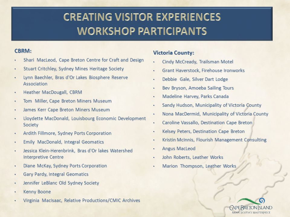 Creating Visitor Experiences Workshop Participants