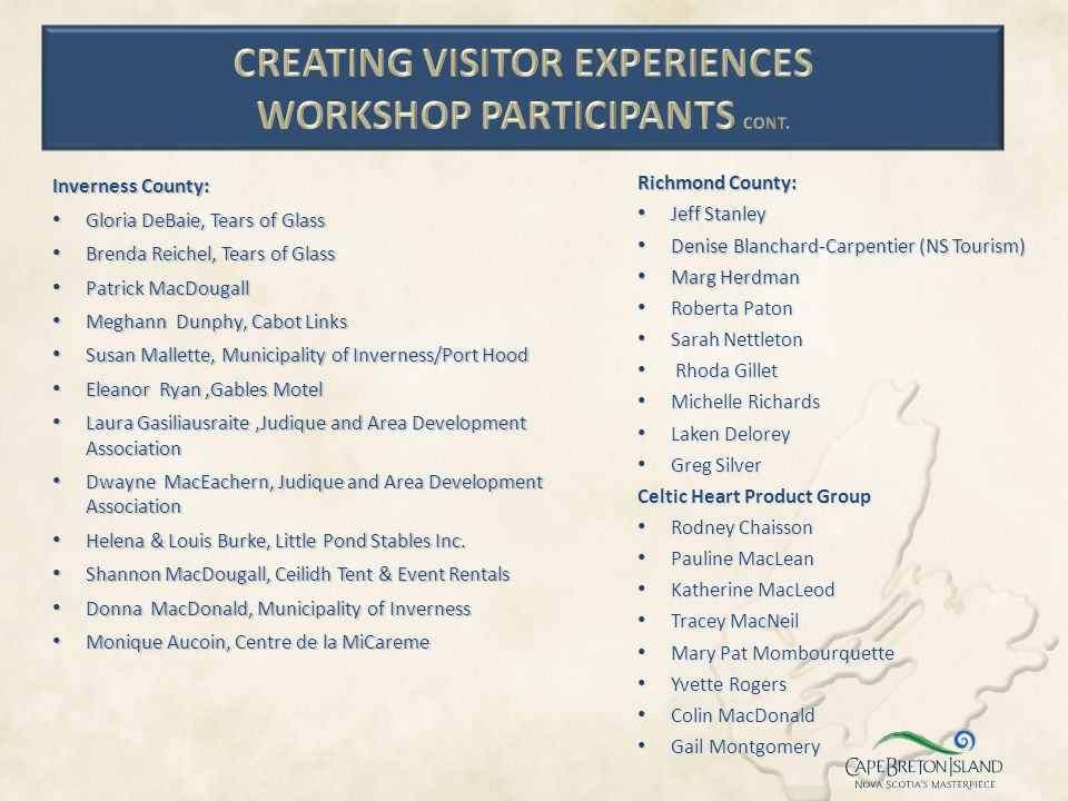 Creating Visitor Experiences Workshop Participants Cont.