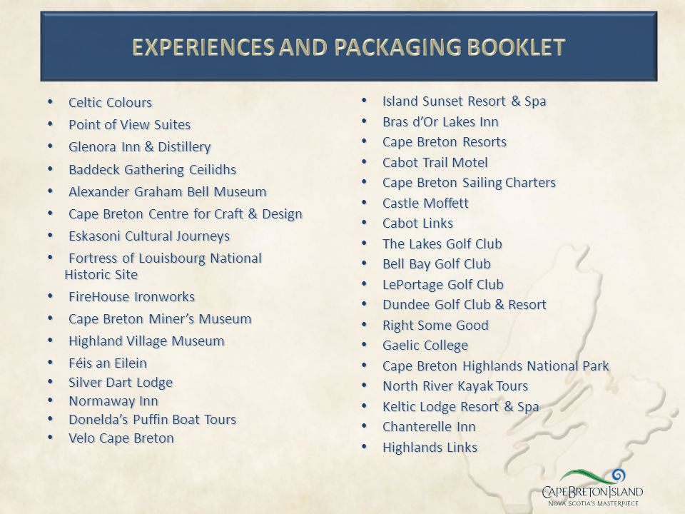 Experiences and Packaging Booklet