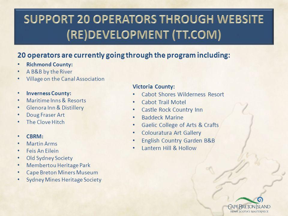 Support 20 operators through website (re)development (TT.com)