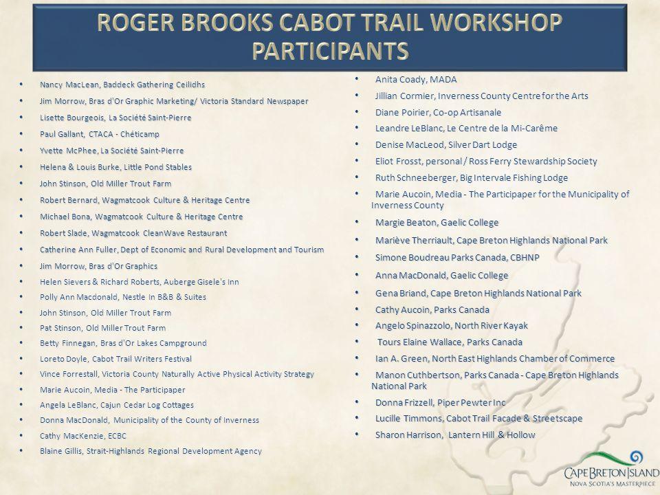 Roger Brooks Cabot Trail Workshop Participants