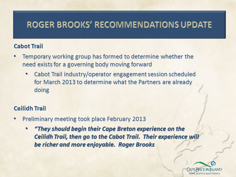 ROGER BROOKS' RECOMMENDATIONS UPDATE