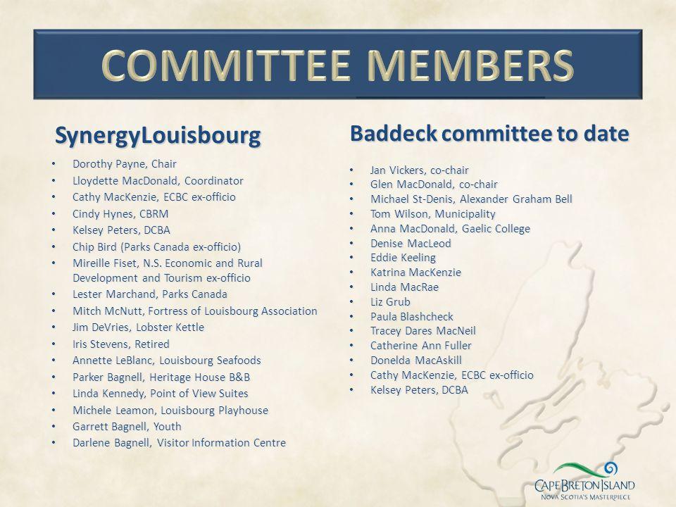 Committee members SynergyLouisbourg Baddeck committee to date
