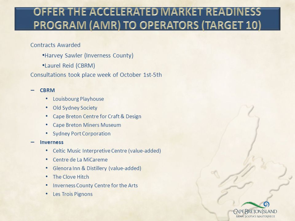 OFFER THE ACCELERATED MARKET READINESS PROGRAM (AMR) TO OPERATORS (TARGET 10)