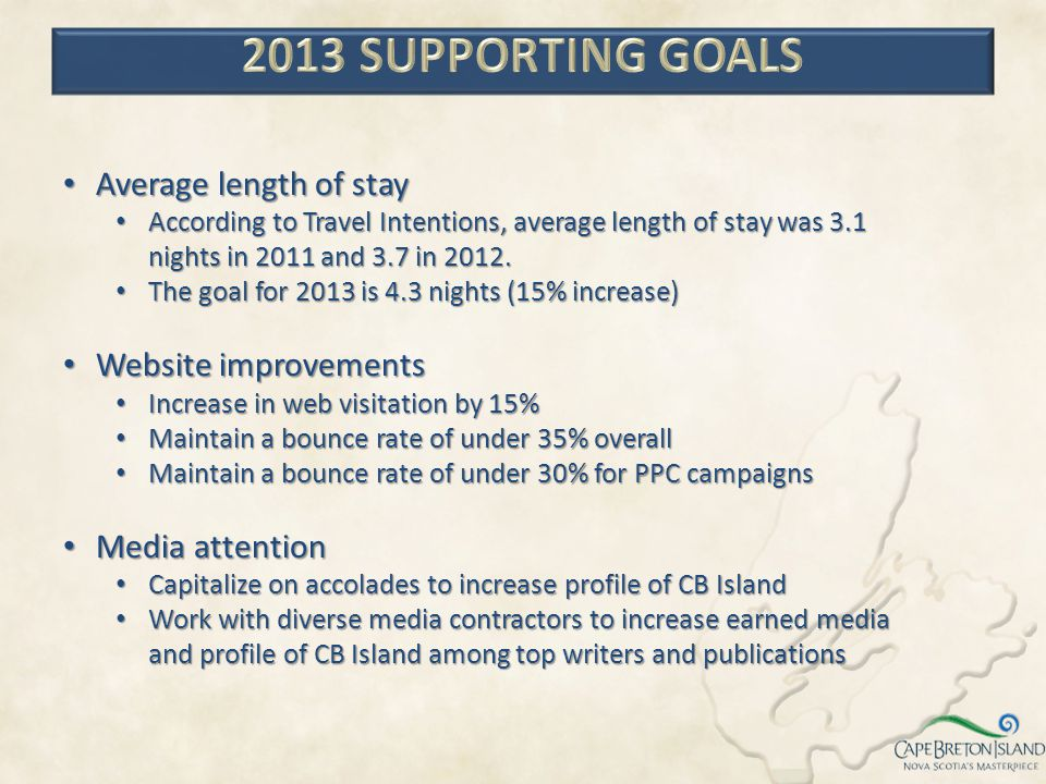 2013 SUPPORTING GOALS Average length of stay Website improvements