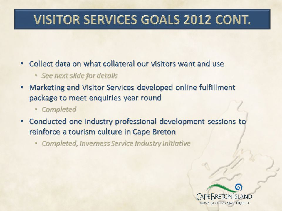 visitor services goals 2012 cont.