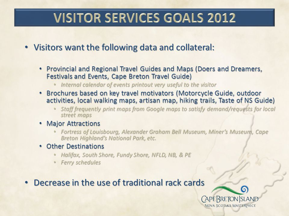 Visitor Services Goals 2012