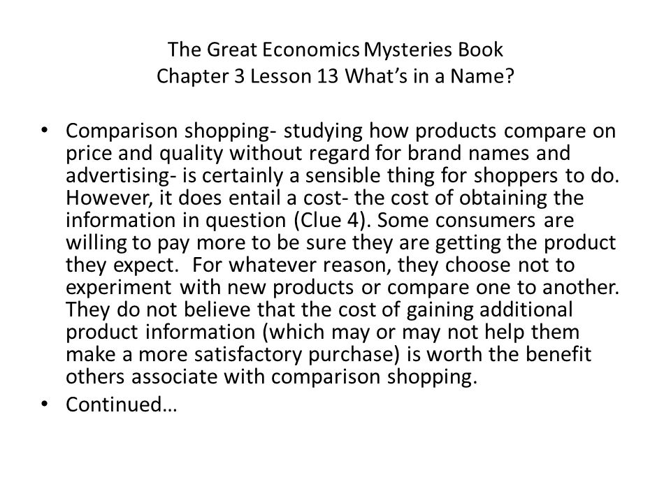 The Great Economics Mysteries Book Chapter 3 Lesson 13 What's in a Name