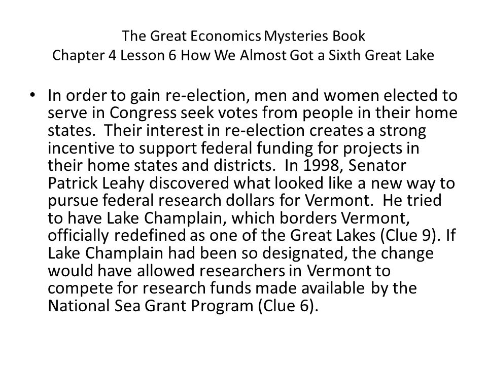 The Great Economics Mysteries Book Chapter 4 Lesson 6 How We Almost Got a Sixth Great Lake