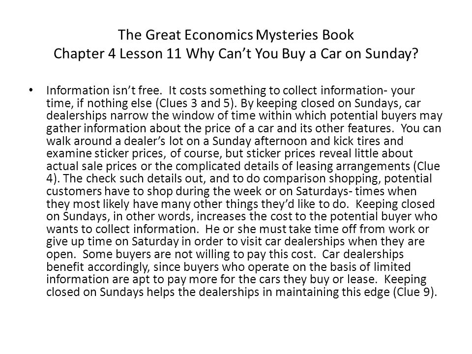 The Great Economics Mysteries Book Chapter 4 Lesson 11 Why Can't You Buy a Car on Sunday