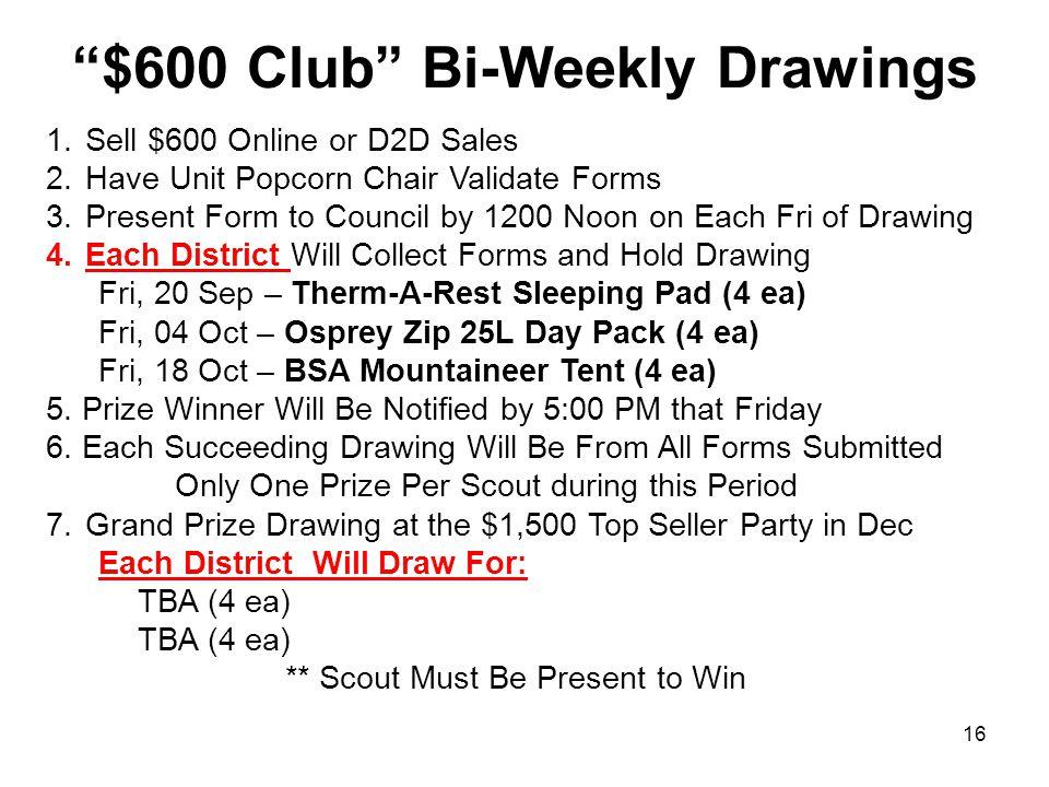 $600 Club Bi-Weekly Drawings