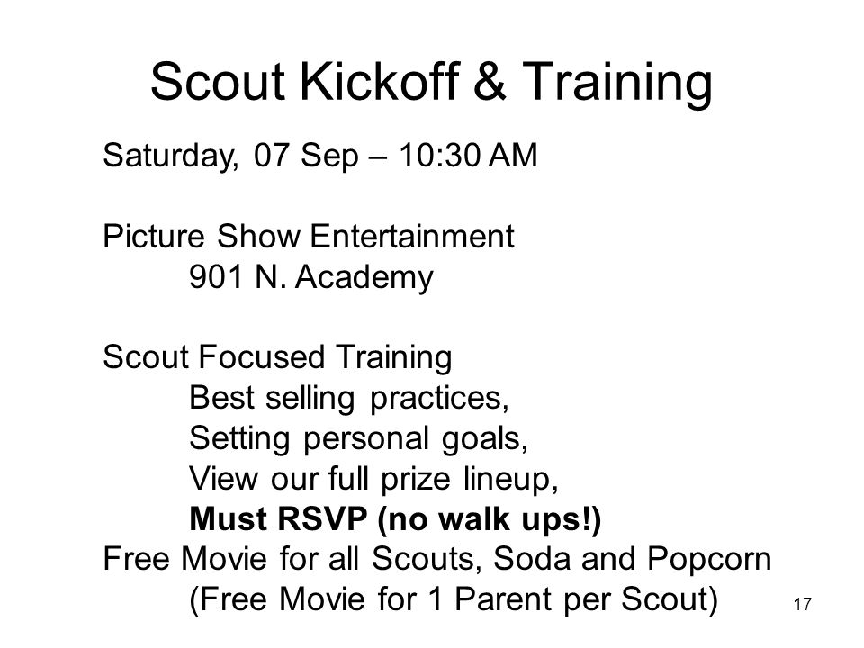 Scout Kickoff & Training