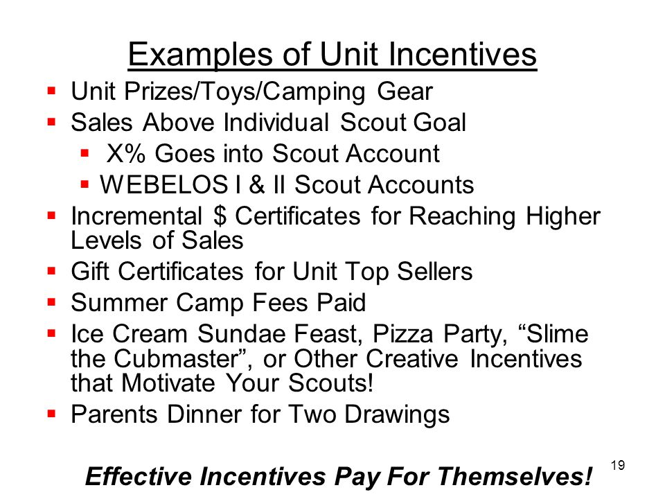 Examples of Unit Incentives