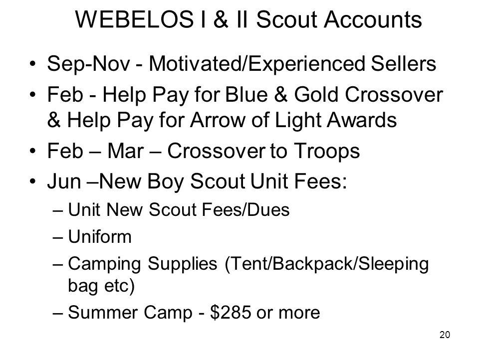 WEBELOS I & II Scout Accounts
