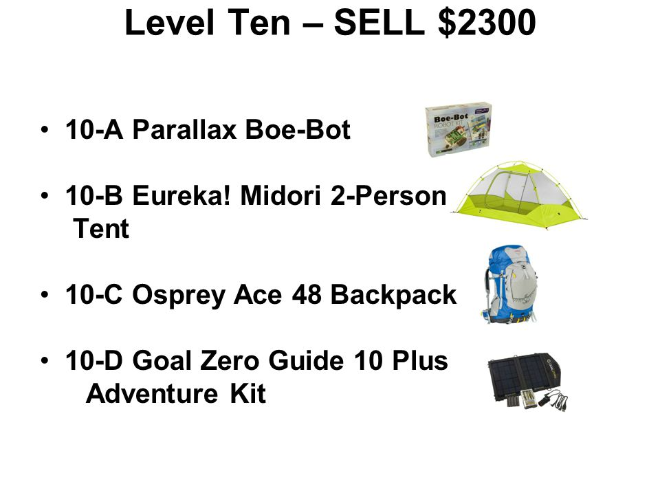 Level Ten – SELL $2300 10-A Parallax Boe-Bot