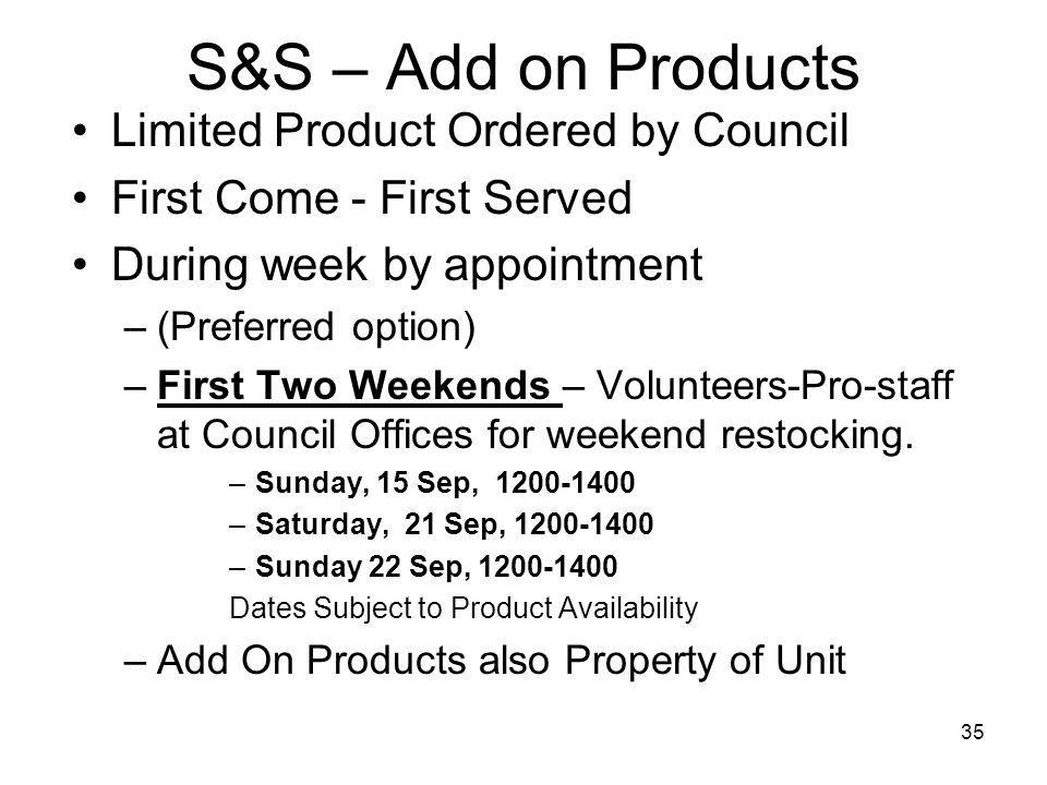 S&S – Add on Products Limited Product Ordered by Council